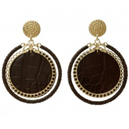 Inspiration Boucle d´oreille Brown Leather O202
