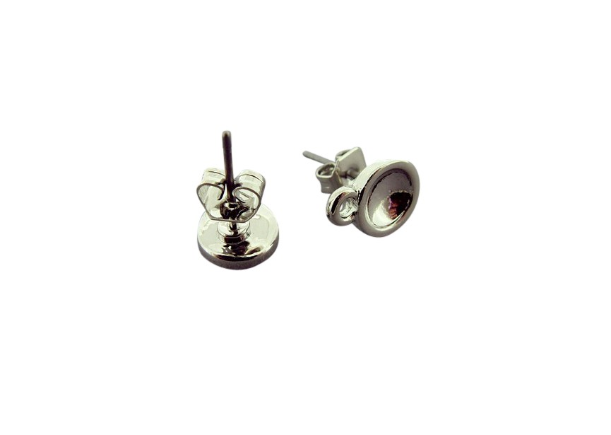 Ear stud with ring 11mm rhodium