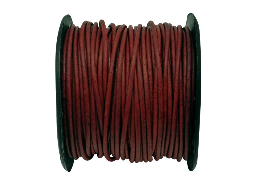 Leather 2mm matt dk.red 25m