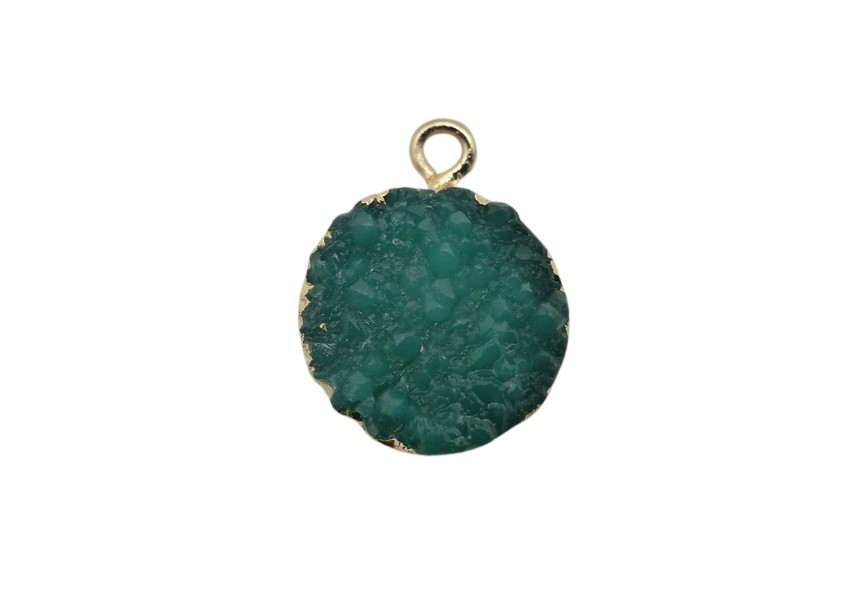 Resin hanger 19X15mm groen/goud