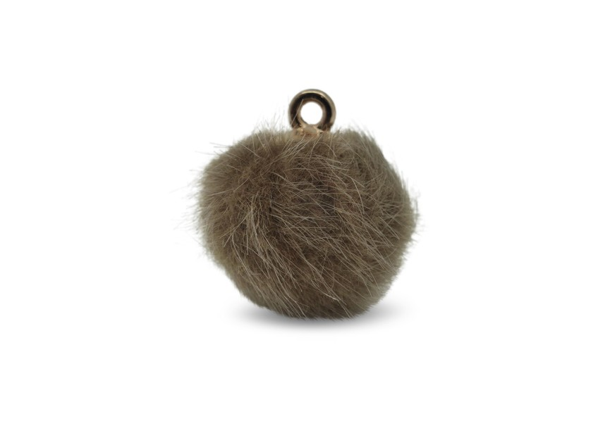 Pendant pompon synthetic fur 16mm brown
