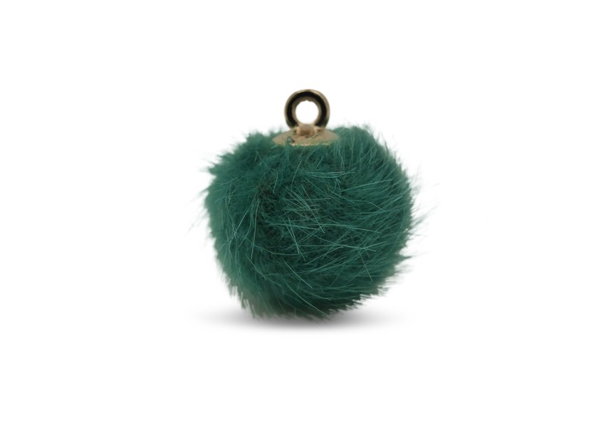 Hanger pompon synth. pels 16mm groen