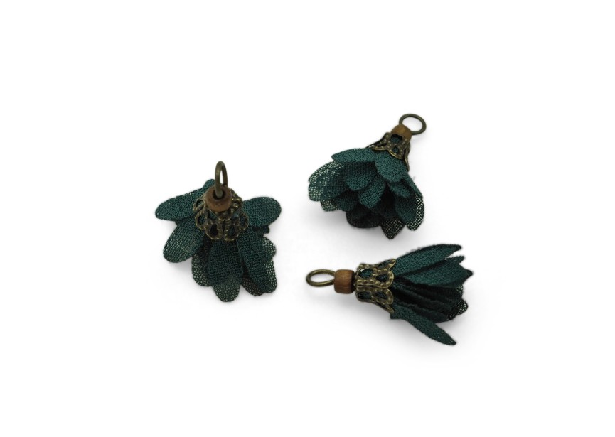 Pendant flower tassel 17mm dk. green / antique gold