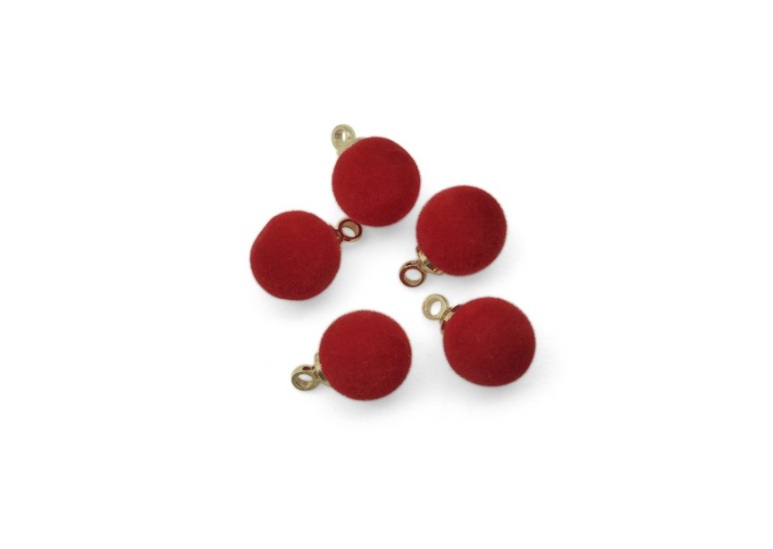 Pendant flocking wool balls 8mm lt.red