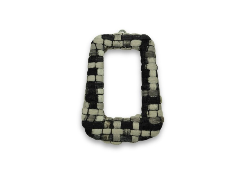 Pendant rectangle textile 42x30mm black