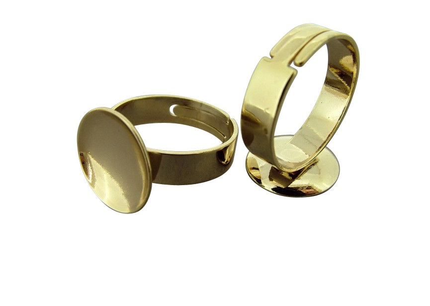 Ring with tub(14mm) for gluing / gold
