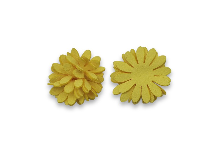 Gluing flower imitation suede 24mm yellow