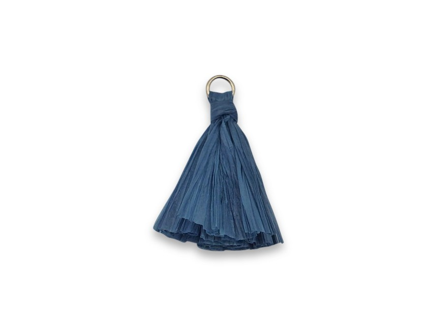 Pendant raffia tassel 38mm blue / gold