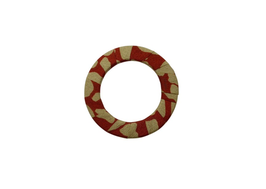 Link/connector circle satin 45mm rust red beige