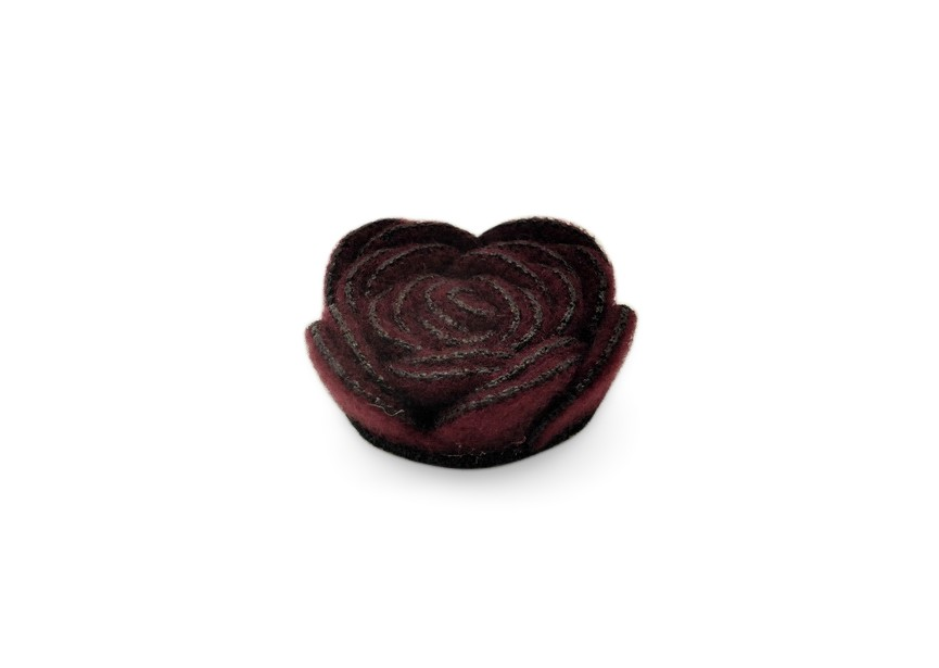 Rose textile gluing flower 27x11mm dk.red