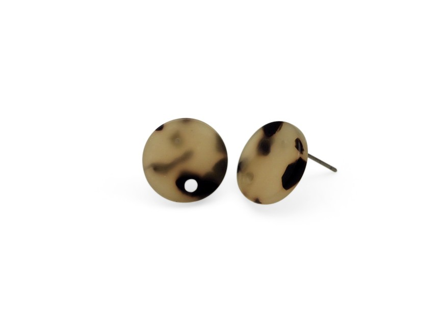 Resin ear stud w/hole 15mm light brown mix