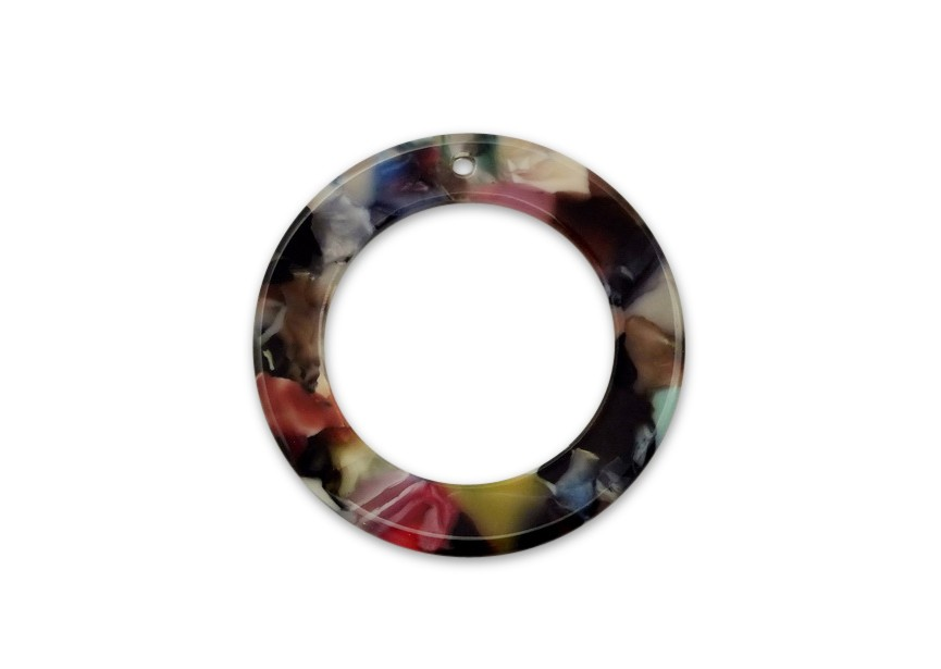 Resin hanger cirkel 42mm multicolor