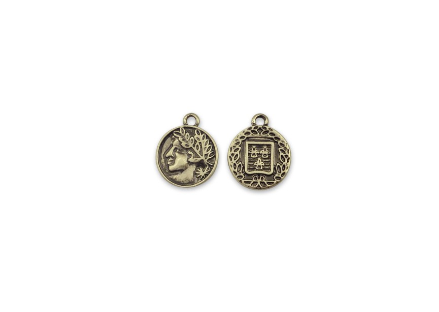 Pendant charm coin 15.5x12.5mm antique gold