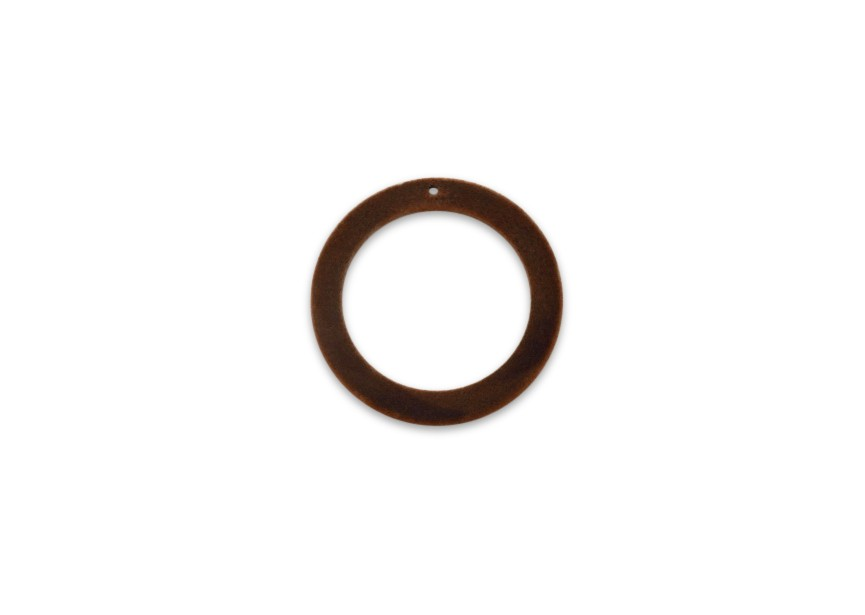 Pendant flocking wool circle 30x3.5x2mm rust brown