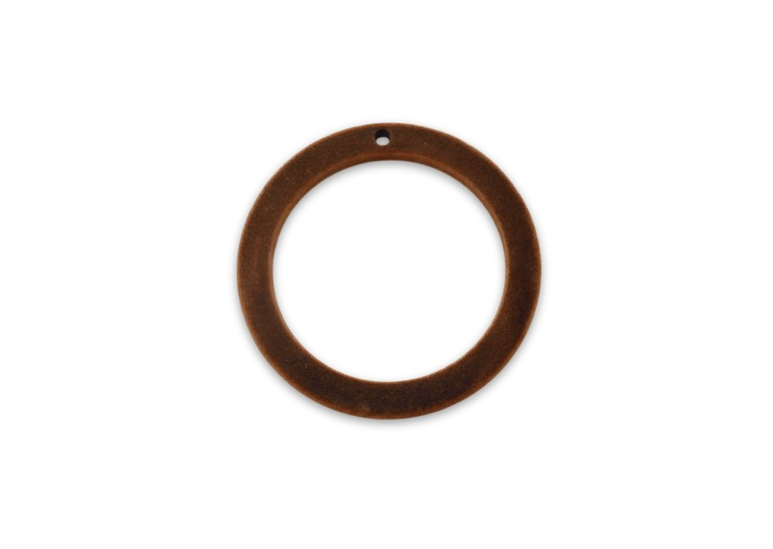 Pendant flocking wool circle 39x4x3mm rust brown