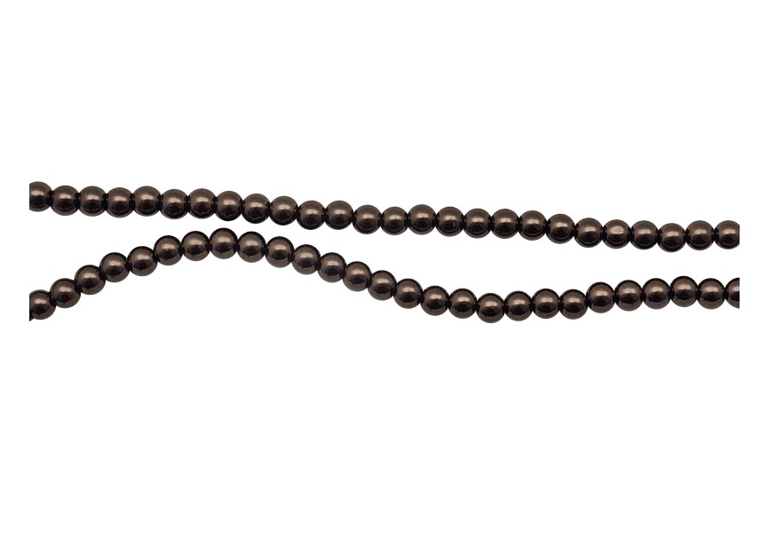 Glass pearls 6mm / 80cm dark brown