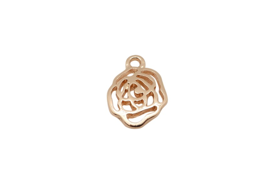 +Hanger bloem 15mm rosé gold