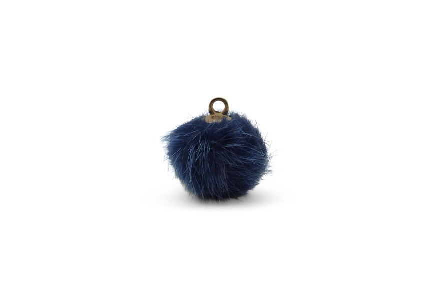 Hanger pompon synth. pels 16mm blauw