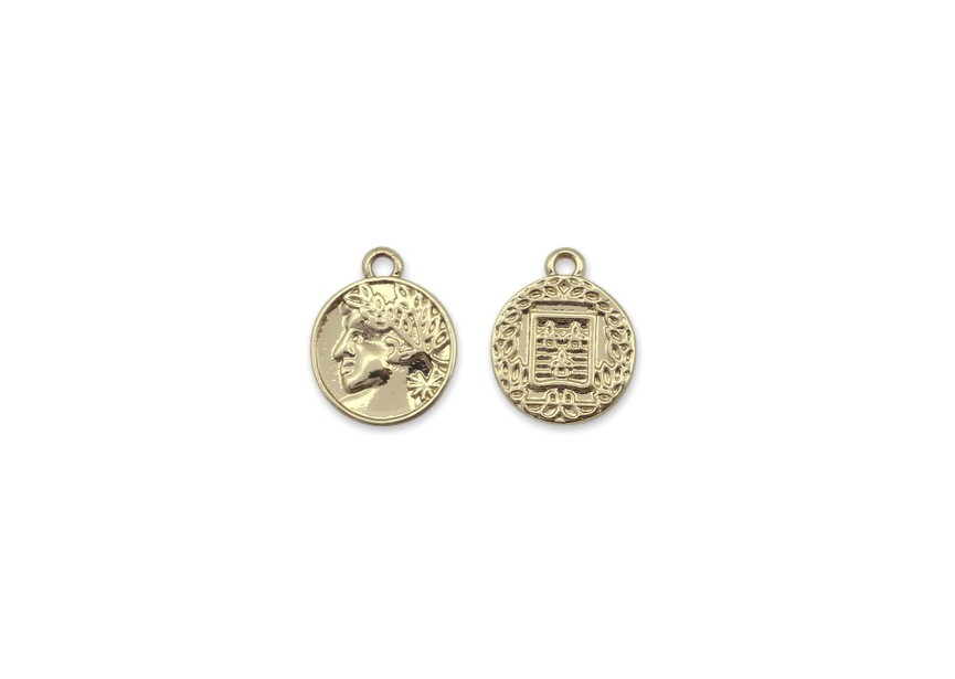Pendant charm coin 15.5x12.5mm gold