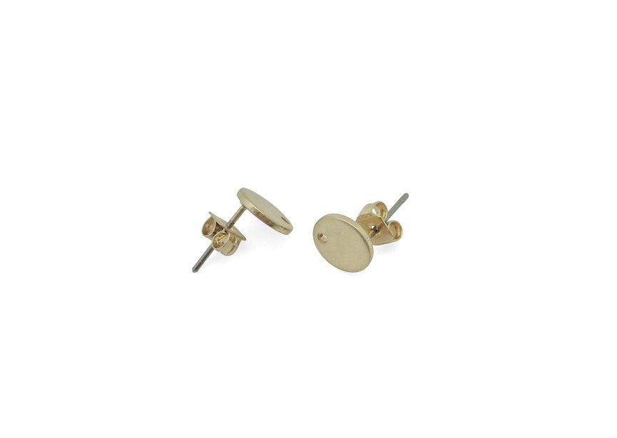 Ear stud 8mm disc with hole vintage gold